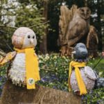 Pidge the pigeon puppet with bright coloured yellow scarf amongst flowers from Leighton Buzzard Bee Local Magazine local news